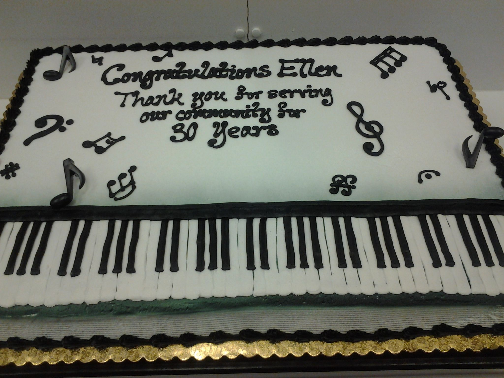 Piano Keys Cake Done On A Full Sheet Completely Out Of