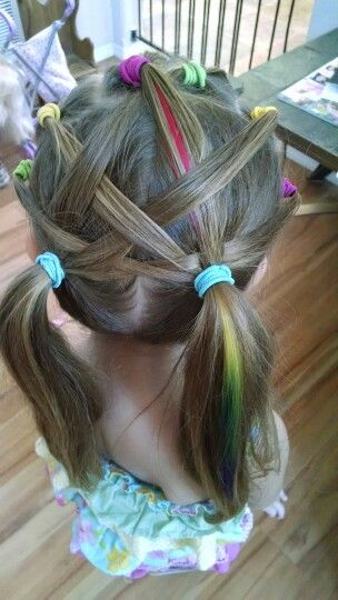 Rainbow weaved hair. EBC
