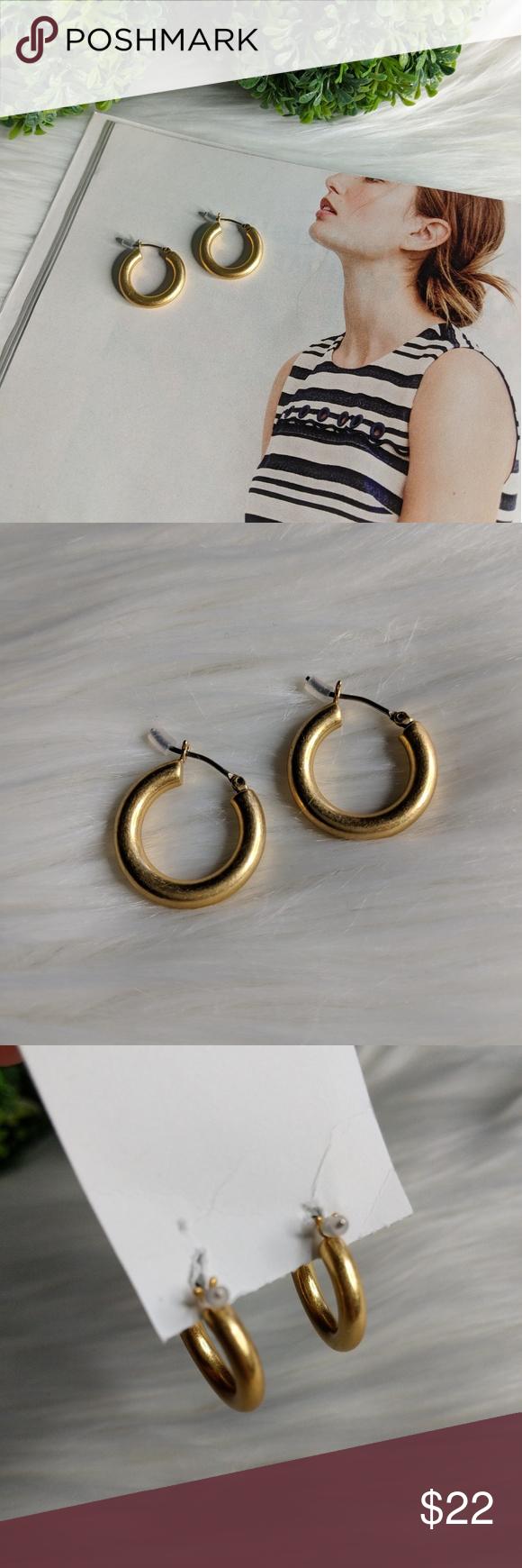 0dbfa02d6577ab Madewell Chunky Medium Hoop Earrings NWT. Medium Chunky brass earrings with  vintage vibe. Comes