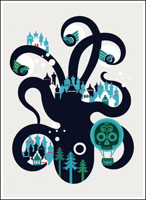 Sanna Annuka creates a print that has a double imagery of this big octopus and on each is different lives and cities.