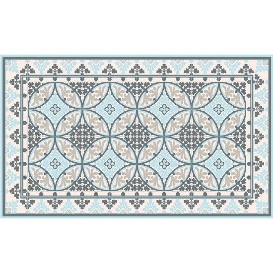 imitation carreaux de ciment fleux tapis vinyl barcelone light blue white 60 x 97 cm