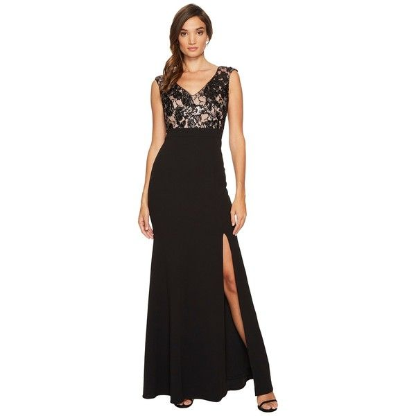 Adrianna Papell Cap Sleeve Long Gown with Lace Bodice (Black/Nude ...