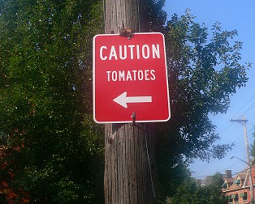 Must've been outside of Tomatina...but I suppose it should've been in Spanish if that were true. Ha.