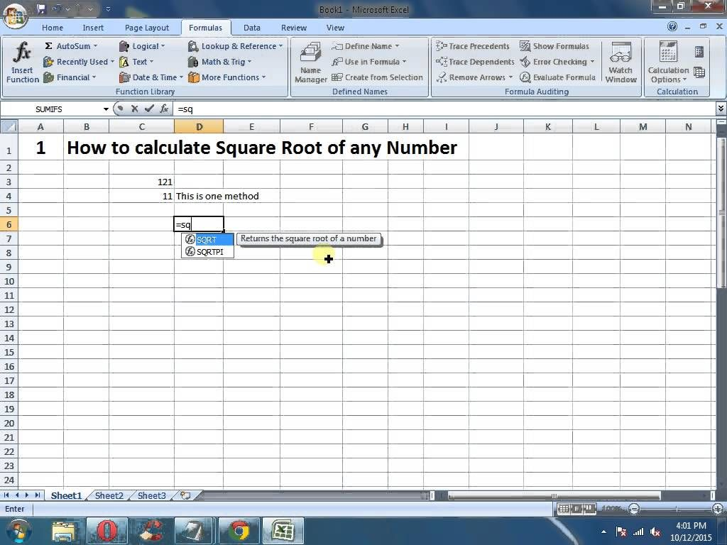 Ms excel tutorials how to calculate square root of any number in ms excel tutorials how to calculate square root of any number in micro fandeluxe Images