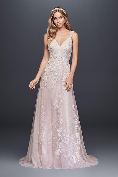 d870fb0c2ce1 Butterfly Appliqued Tulle A-Line Wedding Dress MS251187, presented by David's  Bridal.A dream dress for a true romantic, this ethereal tulle wedding gown  ...