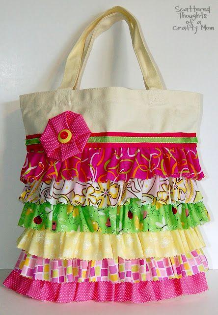 No-sew ruffle bag tutorial- so cute but I would sew it.