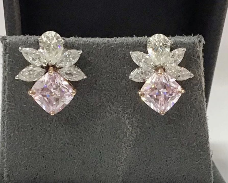 Gemstone Jewellery Fancy Mickey Mouse Earrings In 18k Rose Gold Over Round Amethyst Pure 925 Silver