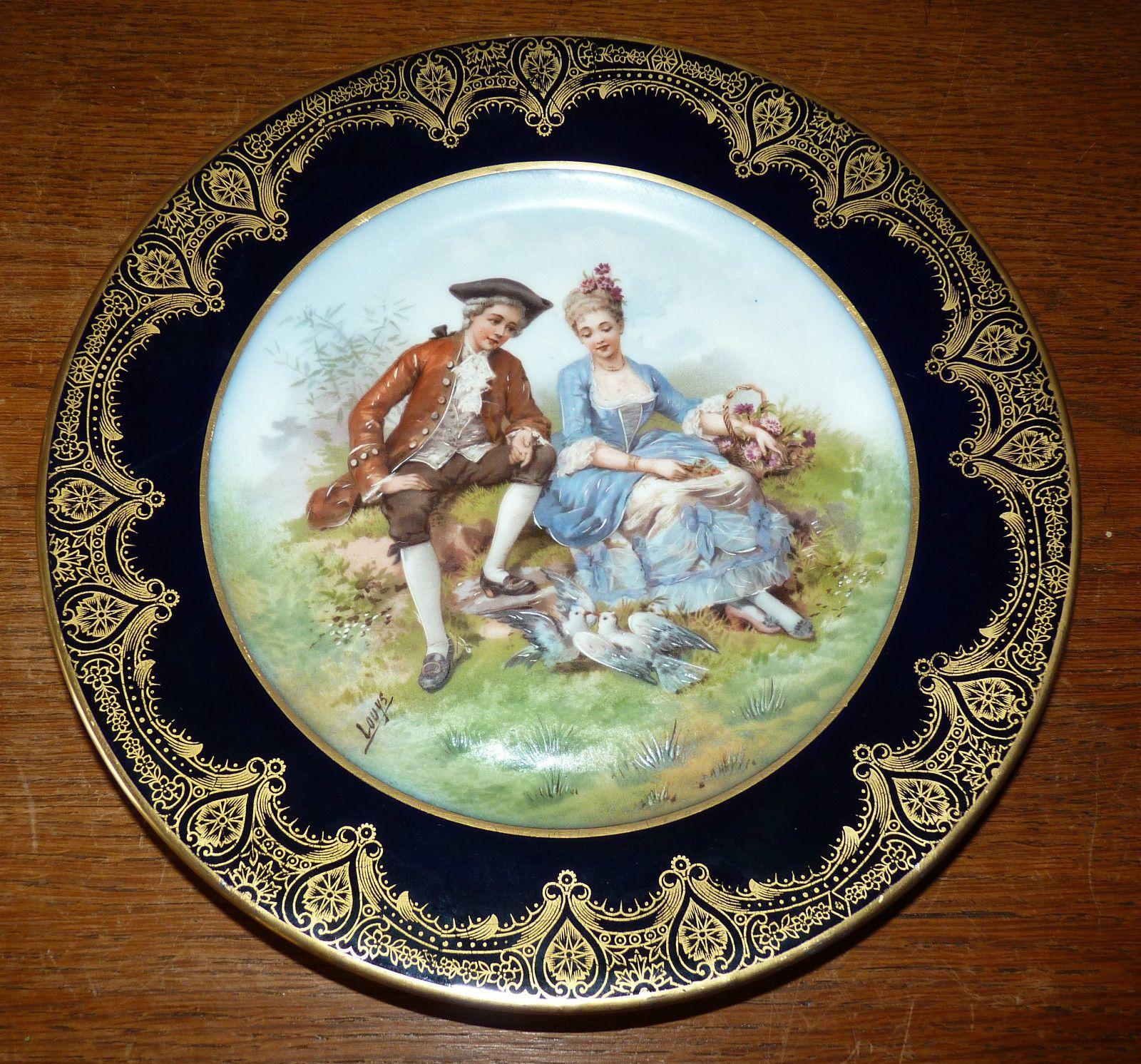 Limoges Porcelain Plate Signed Of Louys Bd Limoges Blue Four Of And Gold Ebay Limoges Porcelain Plates Limoges Porcelain Plates