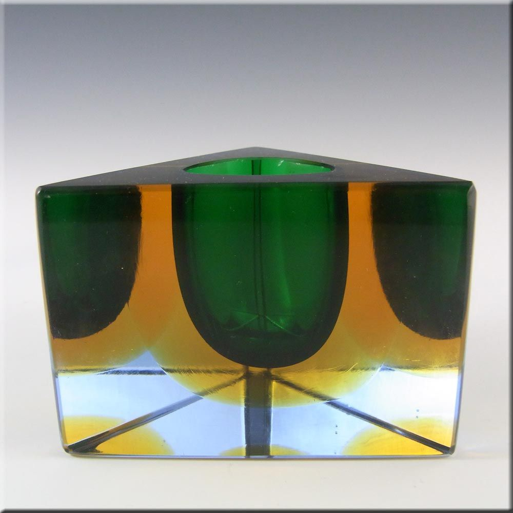 Muranosommerso faceted green glass block vasebowl 13000 mandruzzato muranosommerso faceted green glass vasebowl 12999 reviewsmspy