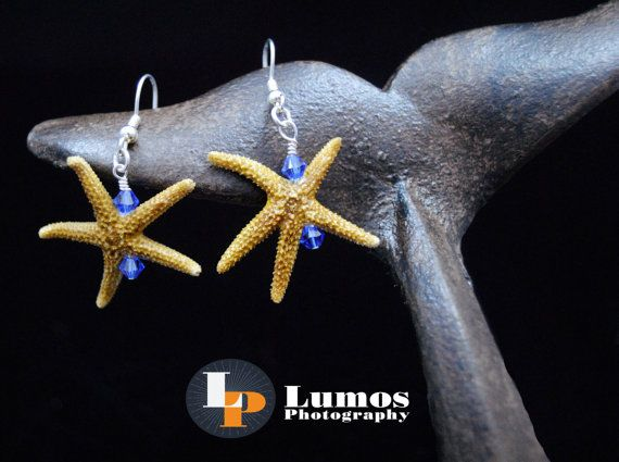 Real Sanibel Starfish with Swarovski Crystal by GutsyGirlJewelry