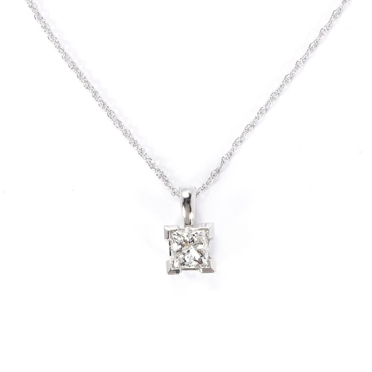 p princess cut set white gold pendant and earring