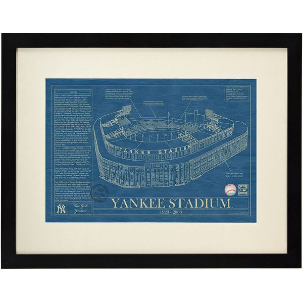 UncommonGoods Baseball Stadium Blueprints (225 CAD) ❤ liked on Polyvore featuring home, home decor, wall art, baseball wall art, framed wall art, black home decor, black wall art and blueprint wall art