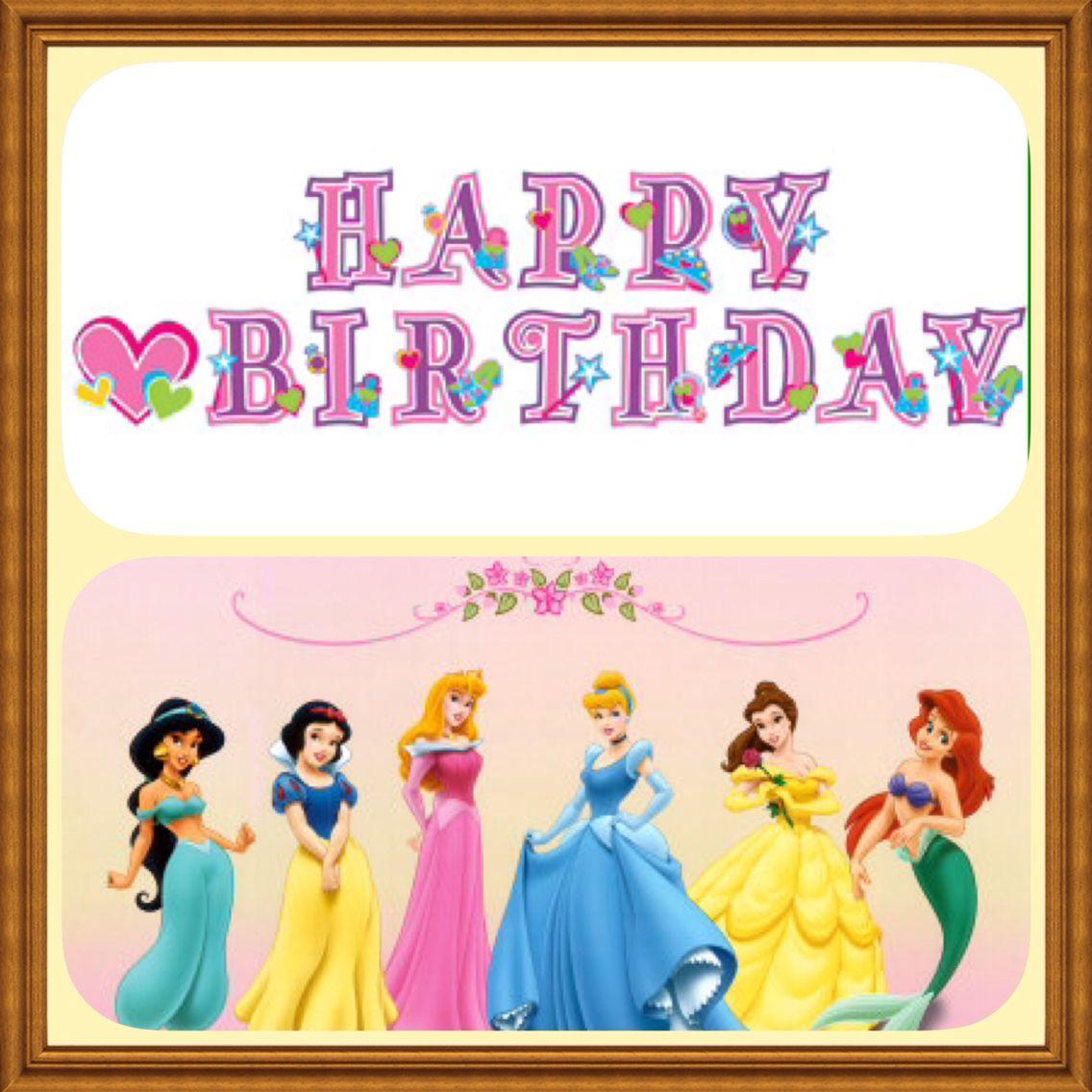 Disney Princess Happy Bithday Happy birthday kids, Happy