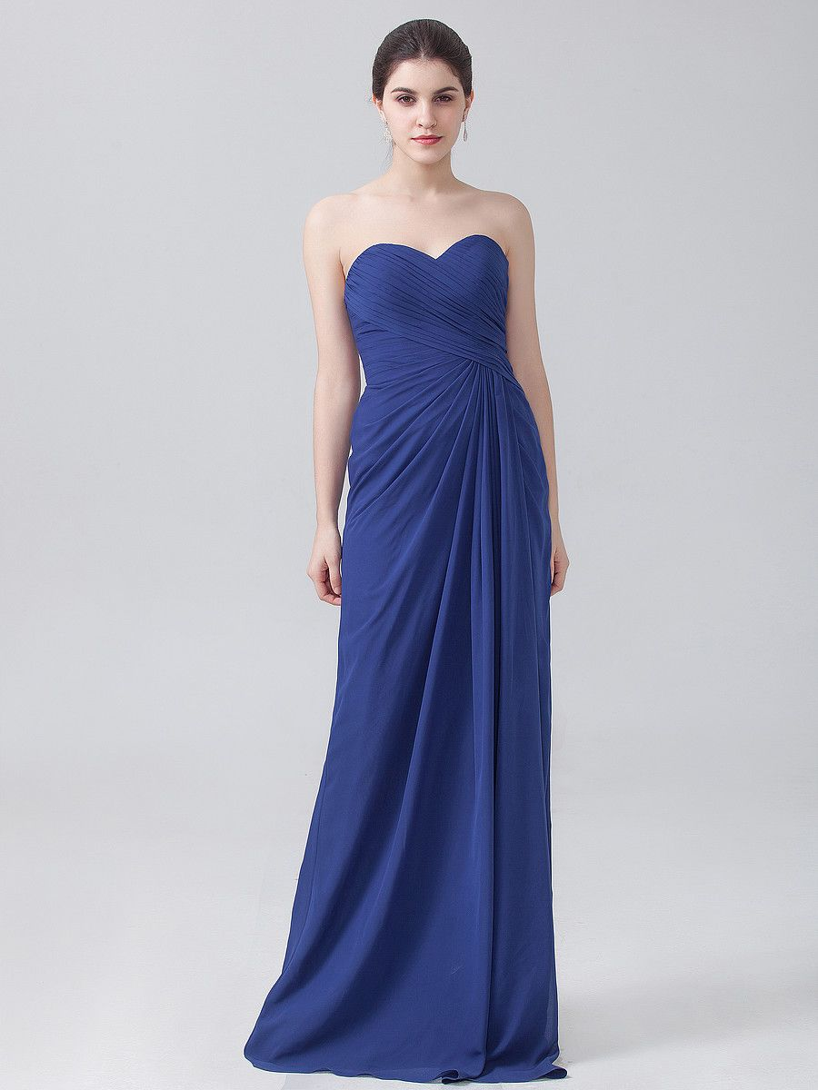 Pleated strapless chiffon dress in twilight blue can be customized