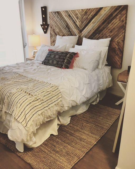 Ikea Hack Diy Headboard Pine Chevron White Bedding Boho