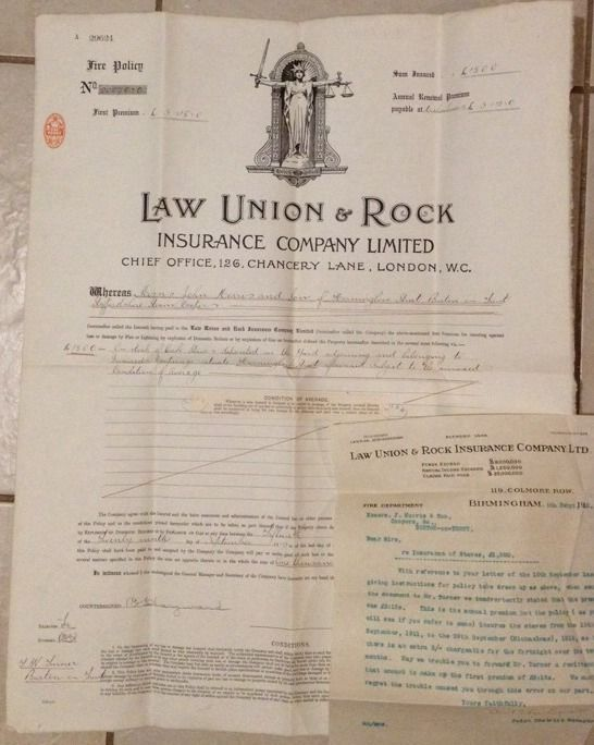 1911 Fire Insurance Policy Law Union Rock Insurance Co Ltd