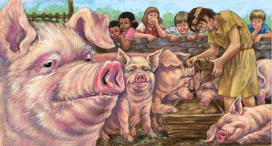 Sunday, March 20, 2011 among the pigs with the prodigal son I am going for the You-Are-There, really experiencing the action sort of feeling. I really like drawing pigs too. How fun it is to keep working with the same kid characters, developing the personalities too. http://janiceskivington.blogspot.com/2011/03/among-pigs-with-prodigal-son.html