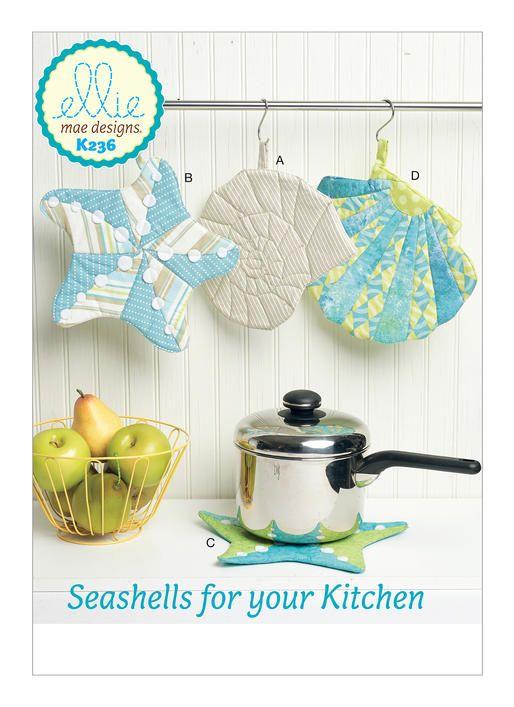 Kwik Sew K0236 pattern. Seashell-Themed Potholders with Hanging Loop ...