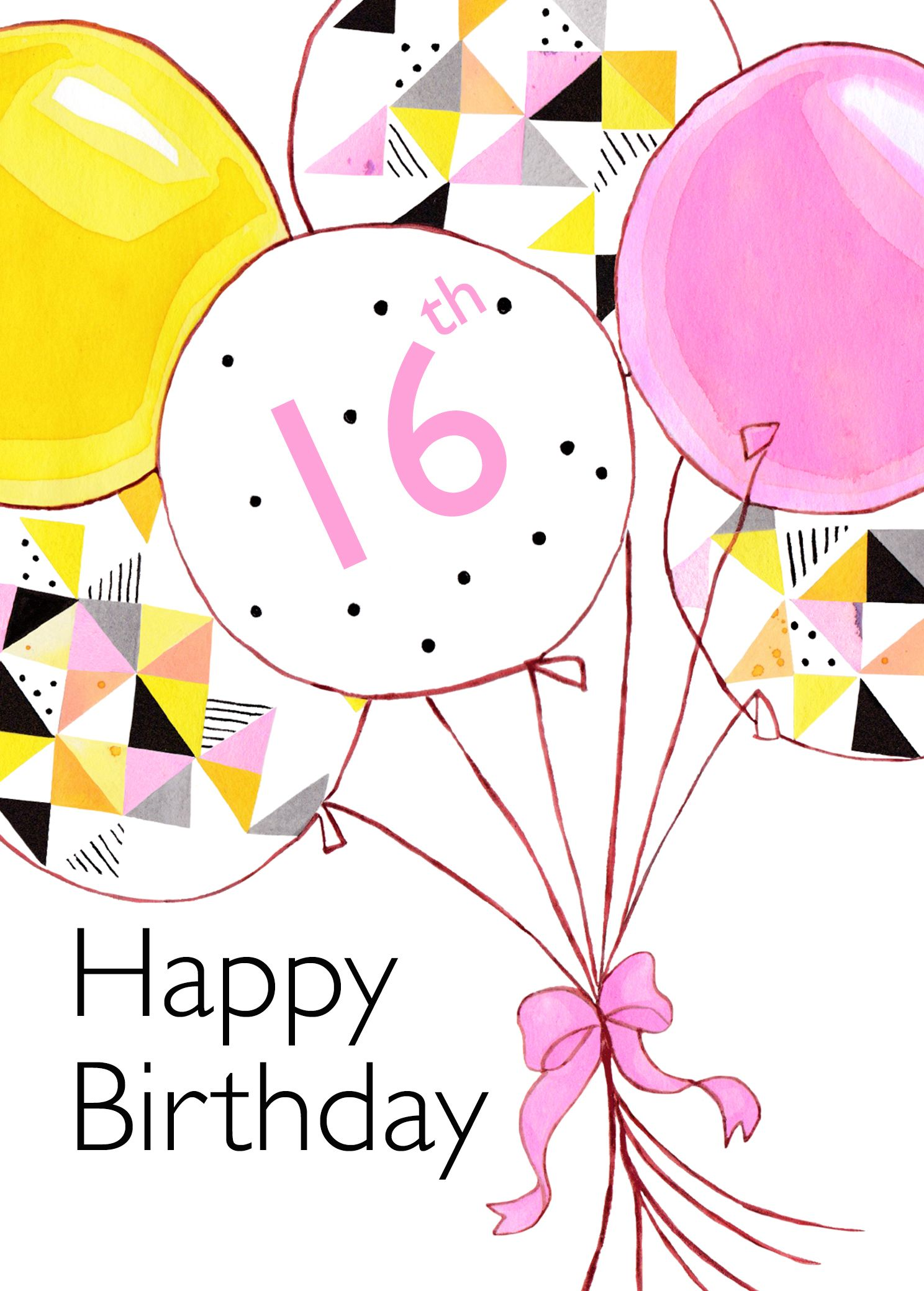 16th Birthday Card Balloons 2 50 Contemporary Geometric Design Blank Card By Between Sisters Studio 16th Birthday Card Happy 2nd Birthday Birthday Cards