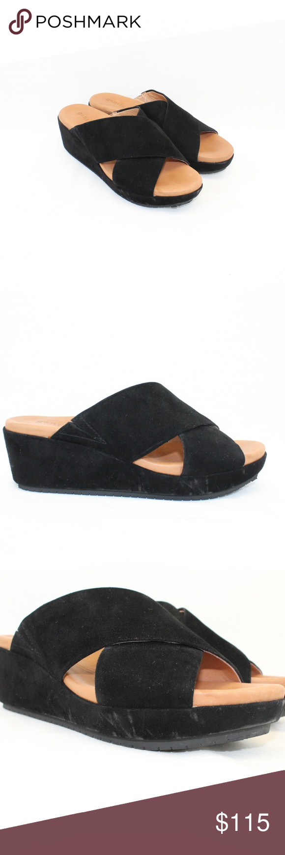 7356d34b53e Gentle Souls Black Mikenzie Platform Slide Wedges Gentle Souls Black Mikenzie  Platform X-Band Slide