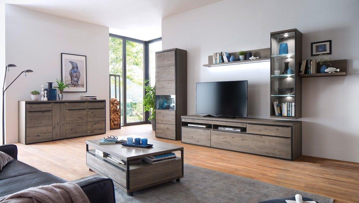 Wohnzimmer Kompletteinrichtung ~ Wohnzimmer einrichtung avignon holz teilmassiv eiche stone grau