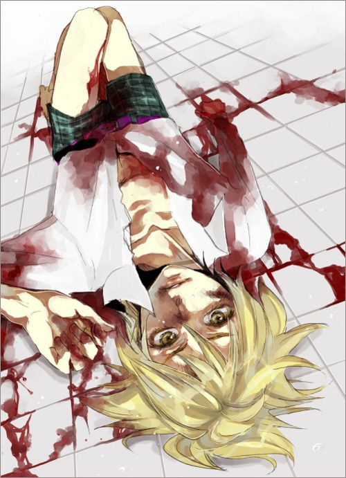 Blond anime boy blood-cute blood is such a pretty thing ... Bloody Dead Anime Guy