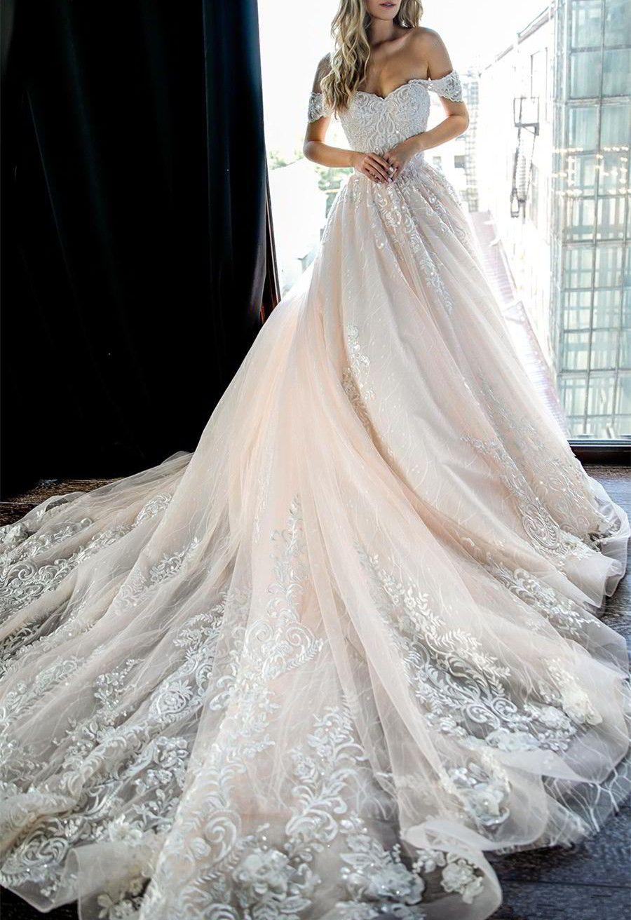 4c6a26592687 Light Pink Off the Shoulder Beaded Wedding Dress,Lace Appliques Bridal Dress ,Long Train Romantic Wedding Dresses on Storenvy