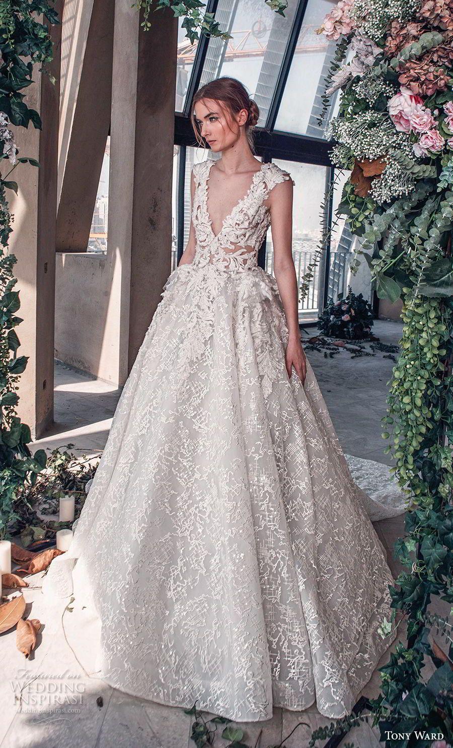 d2a0b7c2da tony ward mariee 2019 cap sleeves deep v neck full embellishment romantic  princess ball gown a line wedding dress royal train (5) mv