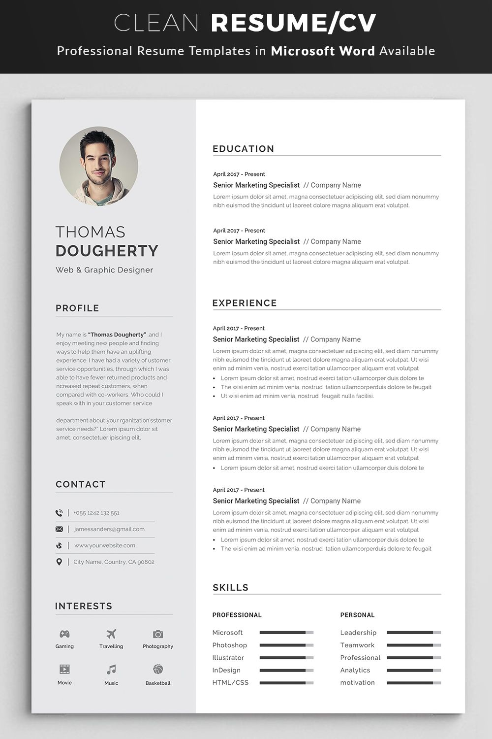 Resume Template Modern Professional Resume Template For Etsy Resume Template Professional Resume Words Resume Template Word