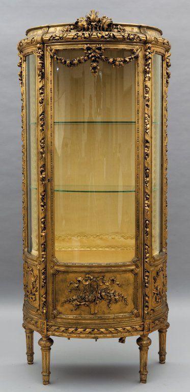 Vetrina in stile Luigi XVI in legno intagliato e on | Luigi, Antique ...
