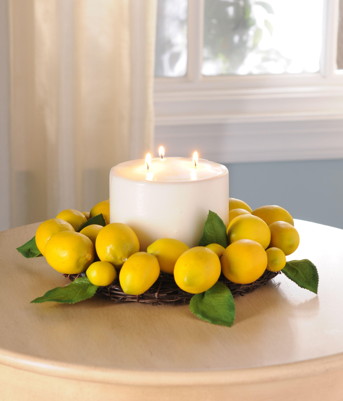 Turn A Wreath Into A Centerpiece Kirklands Creativekitchen Kitchen Table Centerpiece Lemon Decor Lemon Kitchen Decor