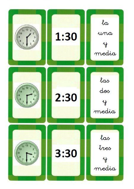 Ahí Os Dejo Unas Tarjetas Para Aprender Las Horas En Punto E Y Media Espero Que Os Sean ú Aprender La Hora Tiempo Para Enseñar Matematicas Primero De Primaria