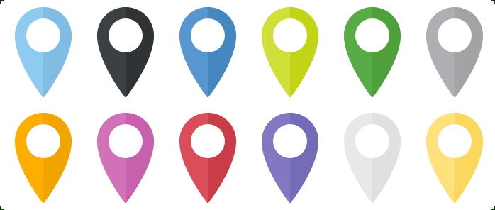 Flat Map Markers Icons Set One Icon In Different Variations Marker Icon Map Marker Custom Icons