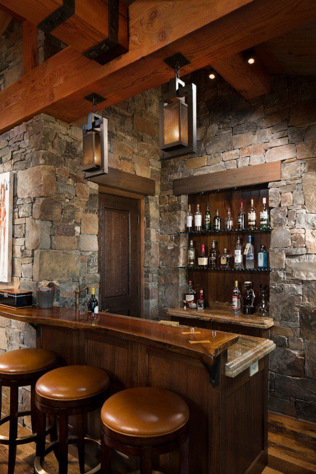 Beau Rustic Home Bar Design. The Home Bar Has Become One Of The Typical Rooms In  Homes Today. Rich Wood, Leather Chairs,stone Wall Are Popular In The Modern  Day ...