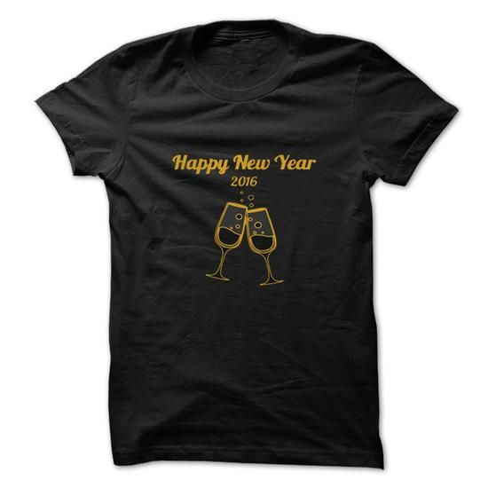 Happy New Year Toast 2016 gold on black tee and hoodie T-Shirts, Hoodies (19$ ==► Shopping Now to order this Shirt!)