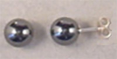 Hematite Stud Earrings. These 8mm Hematite Bead Studs look stunning on their own or wear with a matching necklace for an elegant set. http://www.annabelchaffer.com/products/Hematite-Stud-Earrings.html