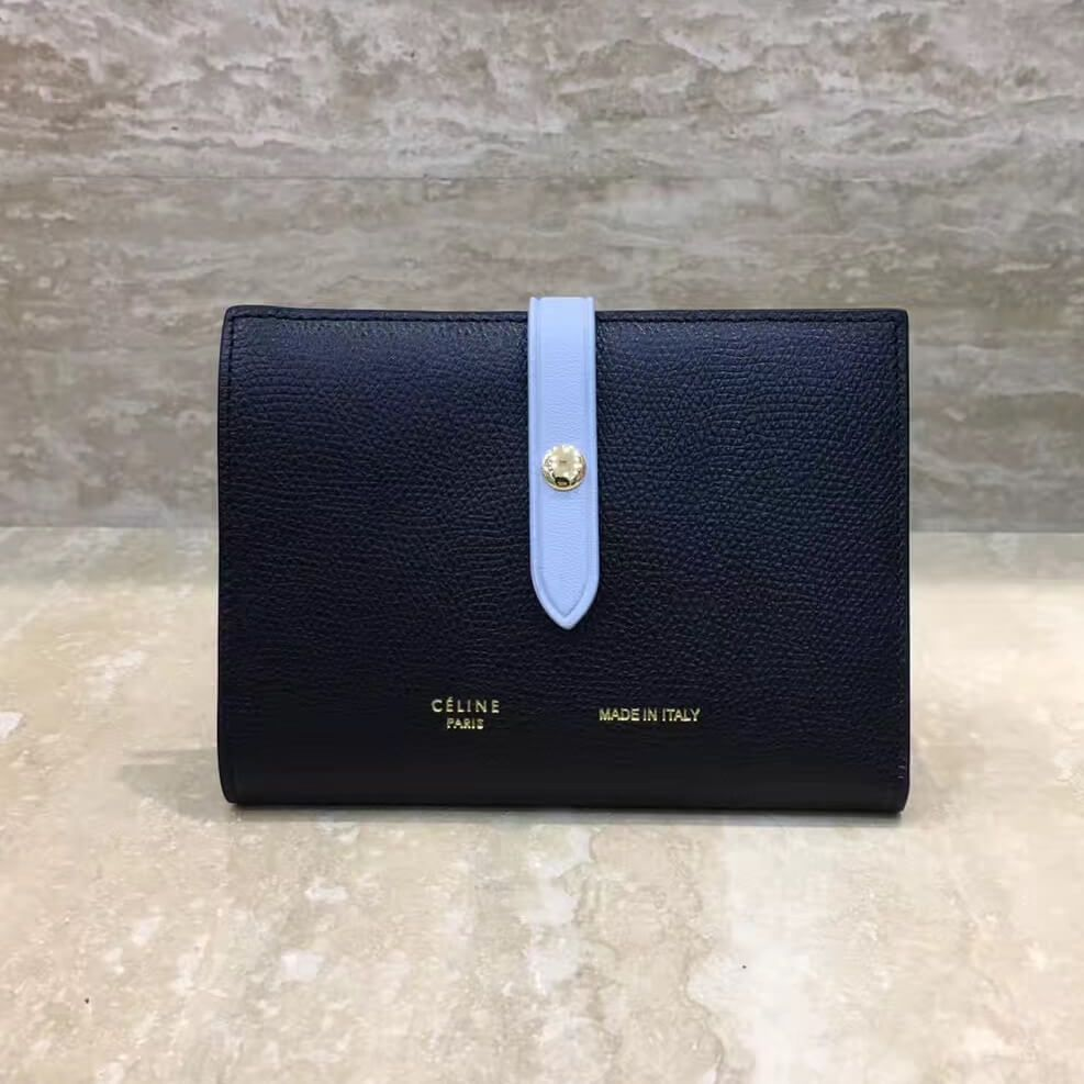 1e776db9f9 Celine Strap Grained Calfskin Medium Multifunction Wallet Black Light Blue  2017