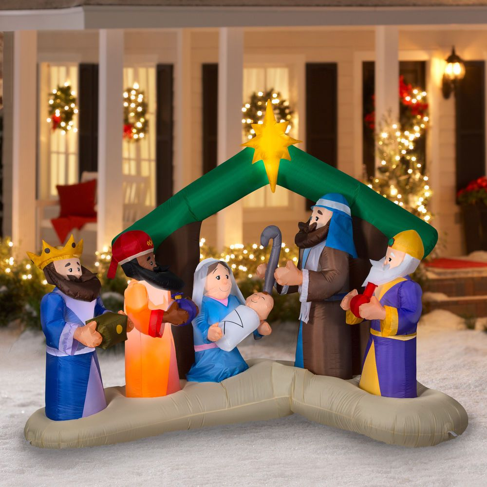 Airblown Inflatable Christmas Outdoor Yard Nativity Scene 8