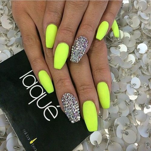 Neon Yellow Acrylic Nails Coffin Shape Nails Green Nails