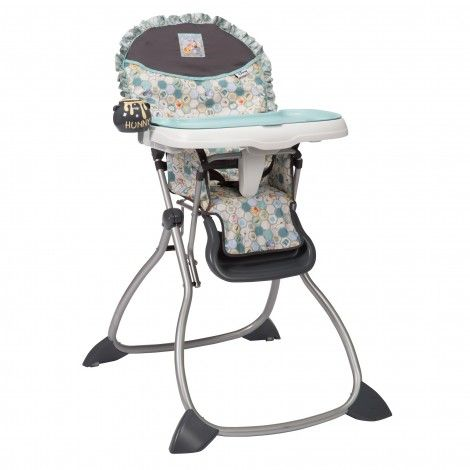 This charming blue and grey honeycomb Winnie the Pooh high chair is as simple to use as it is to clean, from the first time you wipe strained peas off of it to the hundredth.