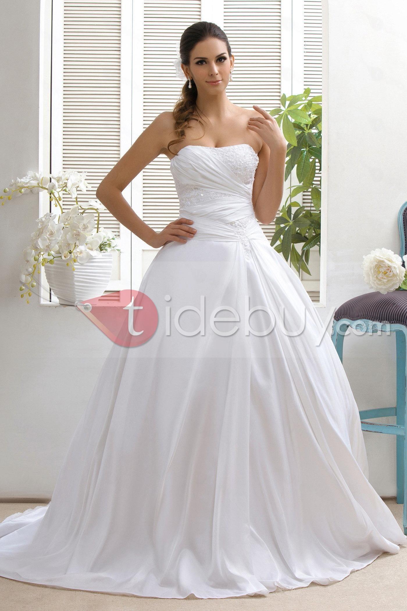 Cheap unique wedding dresses  Concise Strapless ALine Sweep Appliques Talineus Wedding Dress
