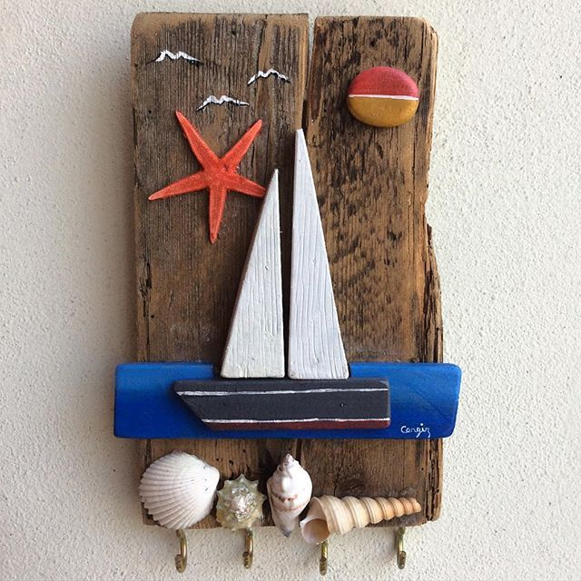 Yelkenli anahtar askılığı #duvarsüsü #oilpainting #yağlıboya #stonepainting…
