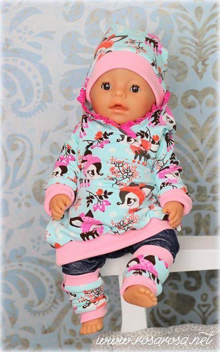 Karo 3 tlg Puppenkleidung/Puppenbekleidung -Baby Born,Krümel 43cm-NEU