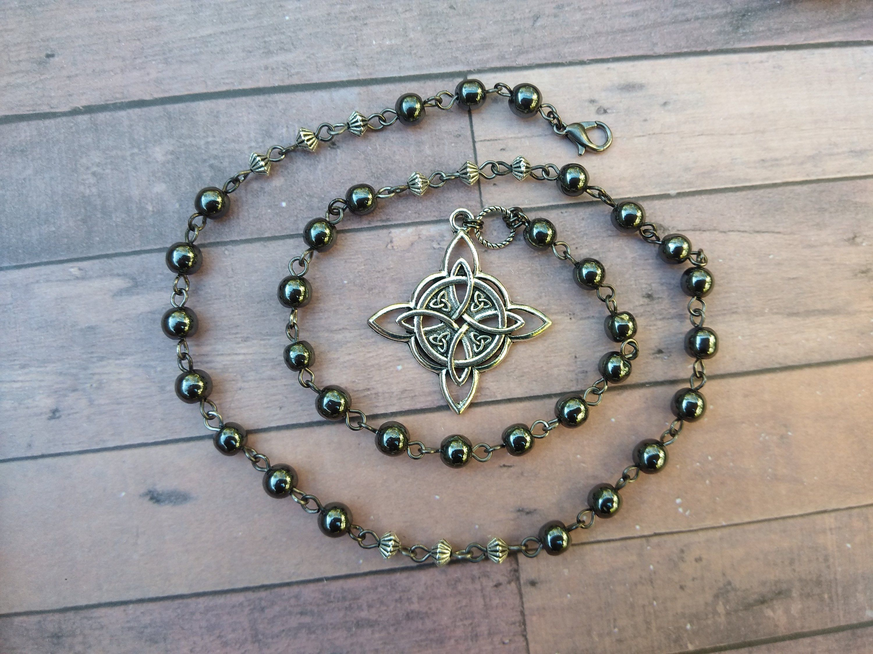Hematite witches knot pagan prayer beads necklace, grounding