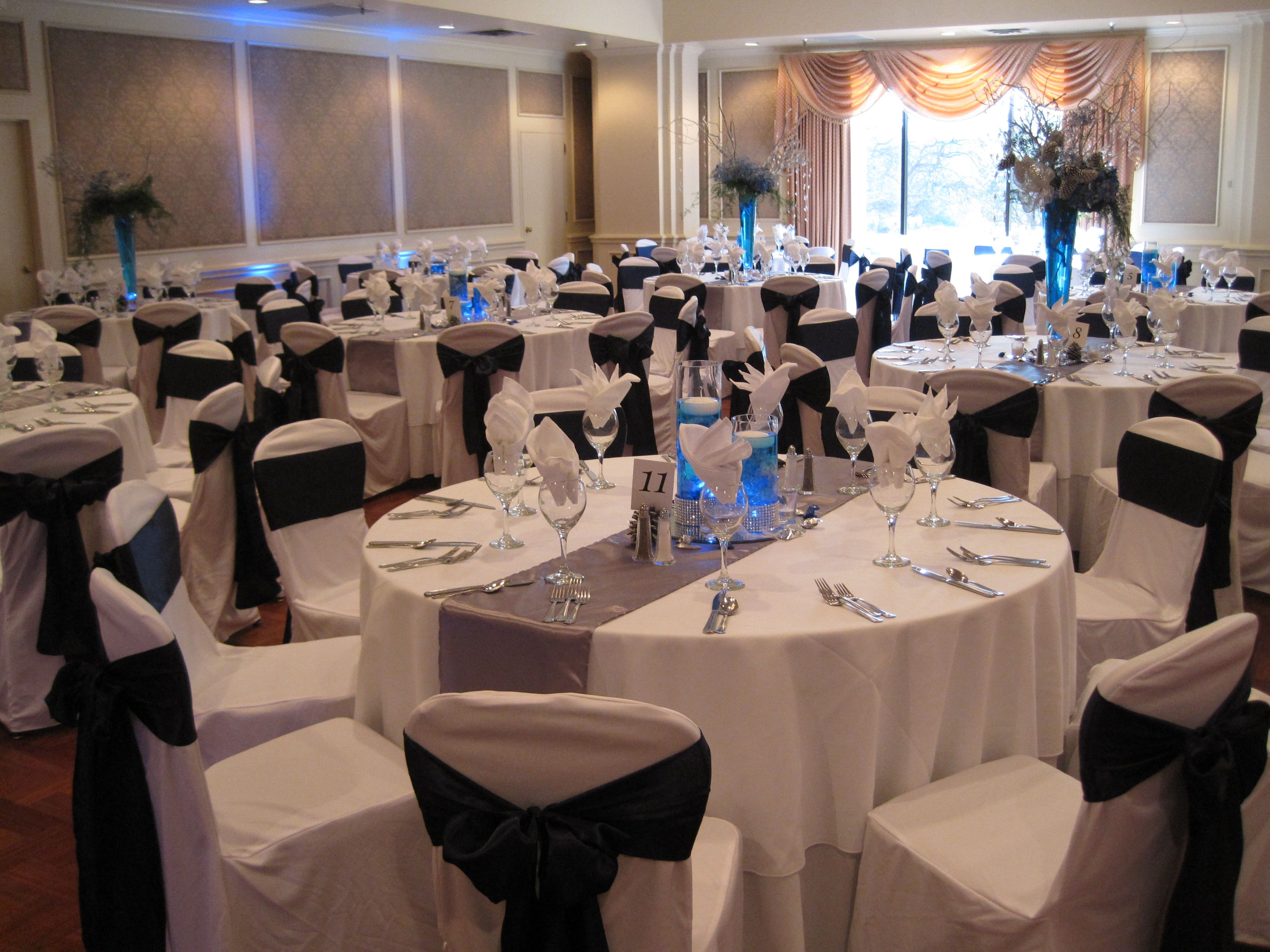White Navy Blue And Silver Wedding Setup Winter Wonderland Theme