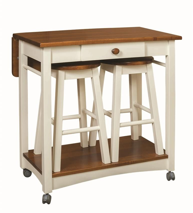 Miraculous Amish Solid Wood Kitchen Island With Two Bar Stools Small Download Free Architecture Designs Grimeyleaguecom
