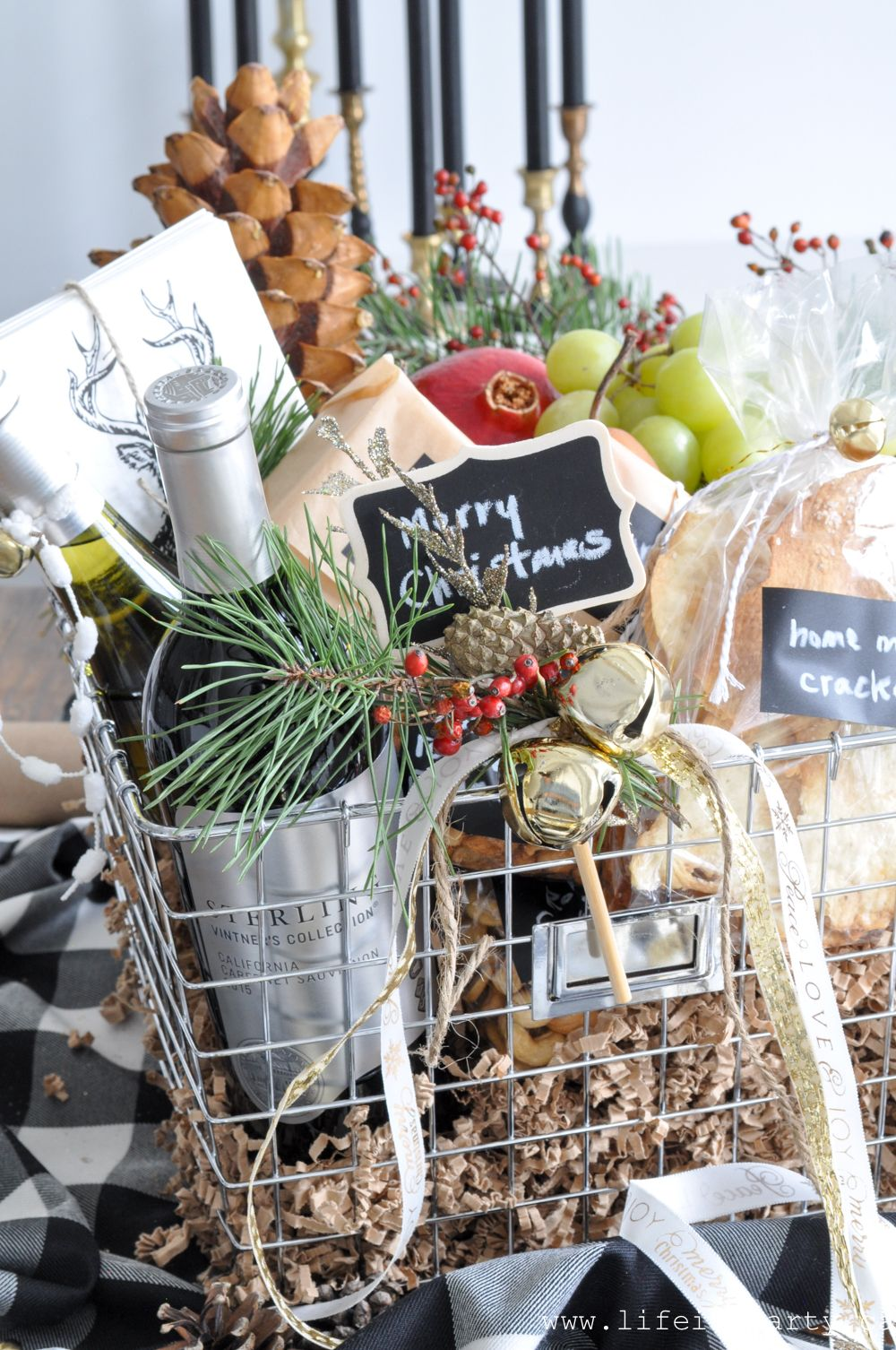 Holiday Hostess Wine and Cheese Gift Basket -wine, cheese, chutneys and nuts and for something extra special Home Made Gourmet Crackers with recipe. #boyfriendgiftbasket