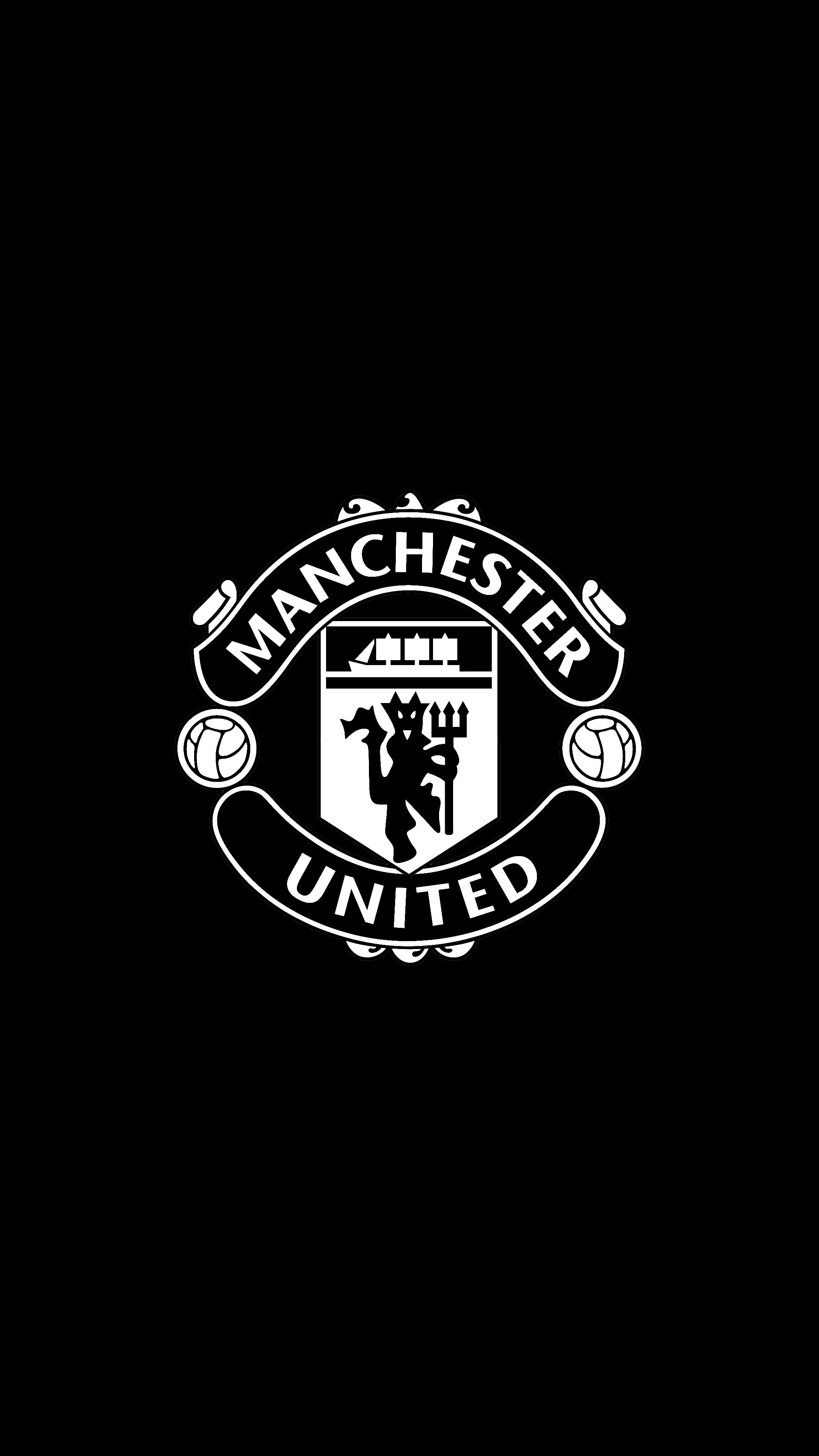 Manchester United B W 2160p 4k Oled Wallpaper Sepak Bola Olahraga Desain Logo