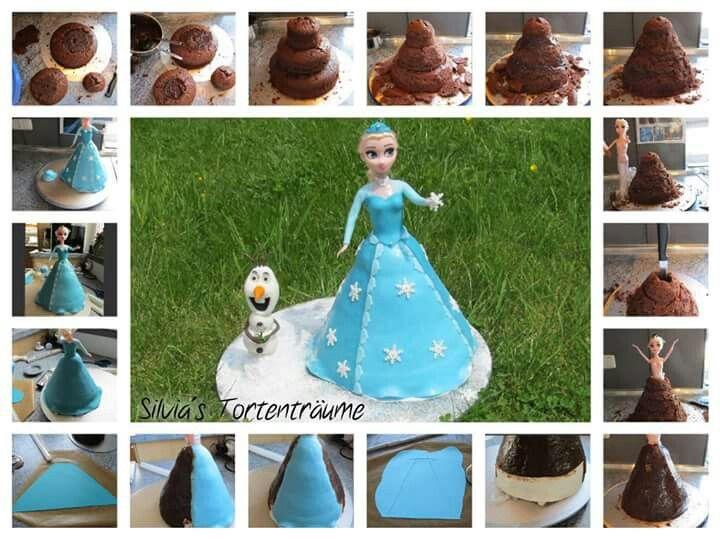 Silvia's Tortenträume:  Elsa Eiskönigin Olaf Torte Cake Frozen Motivtorte Puppe Barbie Anleitung Torte Fondant