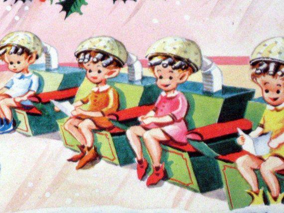 Christmas Beauty Salon.Vintage Christmas Card Santa S Beauty Salon In 2019